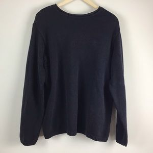 DKNY Navy Knit Long Sleeve Sweater